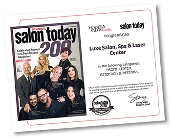Luxe Salon Today award plaque