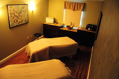 Interior of Luxe couples massage room.