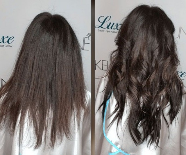 Dark haired Luxe hair extension client before and after.